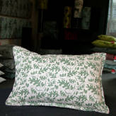 small cushion - from acorns - olive on brown