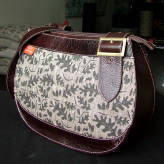 saddle bag with brown leather - from acorns - sepia on brown