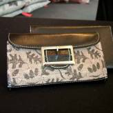 ladies wallet with black leather - from acorns - sepia on brown