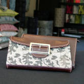 ladies wallet with brown leather - from acorns - sepia on brown
