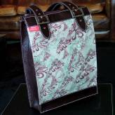 large folio bag with brown leather - flow - burgundy & sage on natural