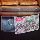 ladies multi-purpose mini purse with brown leather - flow - burgundy & sage on natural