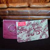ladies multi-purpose mini purse with red leather - flow - burgundy & sage on natural