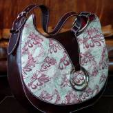 slouch style ladies handbag with brown leather - flow - burgundy & sage on natural