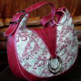 slouch style ladies handbag with red leather - flow - burgundy & sage on natural