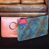ladies multi-purpose mini purse with orange leather - flow - purple & orange on deep green