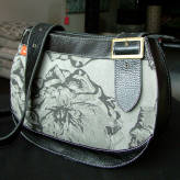 saddle bag with black leather - peony posy - 2 tone grey on grey
