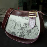 saddle bag with brown leather - peony posy - 2 tone grey on grey