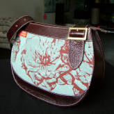 saddle bag with brown leather - peony posy - red & grey on blue/green