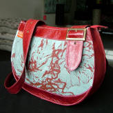 saddle bag with red leather - peony posy - red & grey on blue/green