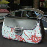 small handbag with black leather - peony posy - red & grey on blue/green