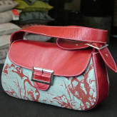 small handbag with red leather - peony posy - red & grey on blue/green