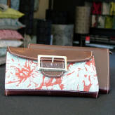 ladies wallet with brown leather - peony posy - red & grey on blue/green
