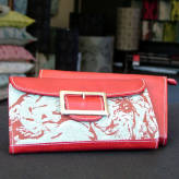 ladies wallet with red leather - peony posy - red & grey on blue/green