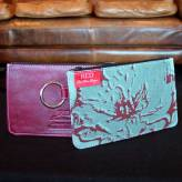ladies multi-purpose mini purse with red leather - peony posy - red & grey on blue/green