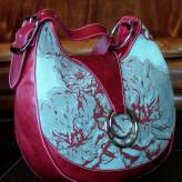 slouch style ladies handbag with red leather - peony posy - red & grey on blue/green