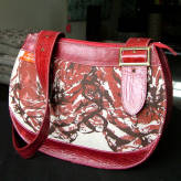 saddle bag with red leather - peony posy - 2 tone red on natural
