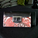 ladies wallet with black leather - peony posy - 2 tone red on natural