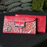 ladies wallet with red leather - peony posy - 2 tone red on natural