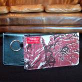 ladies multi-purpose mini purse with black leather - peony posy - 2 tone red on natural