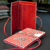 travel  wallet with red leather - peony posy - 2 tone red on natural