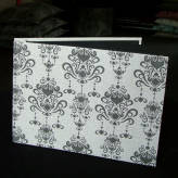 fabric bound photo album - vintage bling - sepia on natural