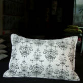 small cushion - vintage bling - sepia on natural