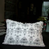 small cushion - fringed edge - vintage bling - sepia on natural