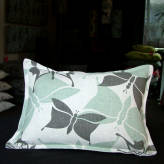 small cushion - vintage flutter - sage & sepia on natural