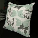 large cushion - vintage flutter - sage & sepia on natural