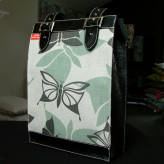 large folio bag with black leather - vintage flutter - sage & sepia on natural