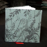 fabric bound large notebook - wild wisteria - 2 tone grey on deep green