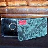 ladies multi-purpose mini purse with black leather - wild wisteria - 2 tone grey on deep green