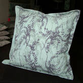 large cushion - wild wisteria - purple & grey on blue/green